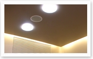 In the ceiling a stereo-speaker can be seen, back-ground sound is provided in each room of the salon. It's possible to paint the speakers in any color if it is necessary for the design.